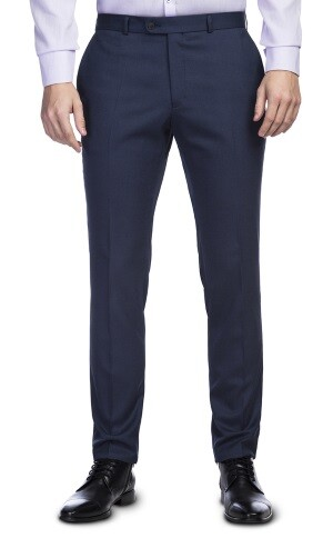 granatowe spodnie męskie w kant klasyczne