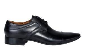 Buty czarne klasyczne męskie czarna skóra na śrlub