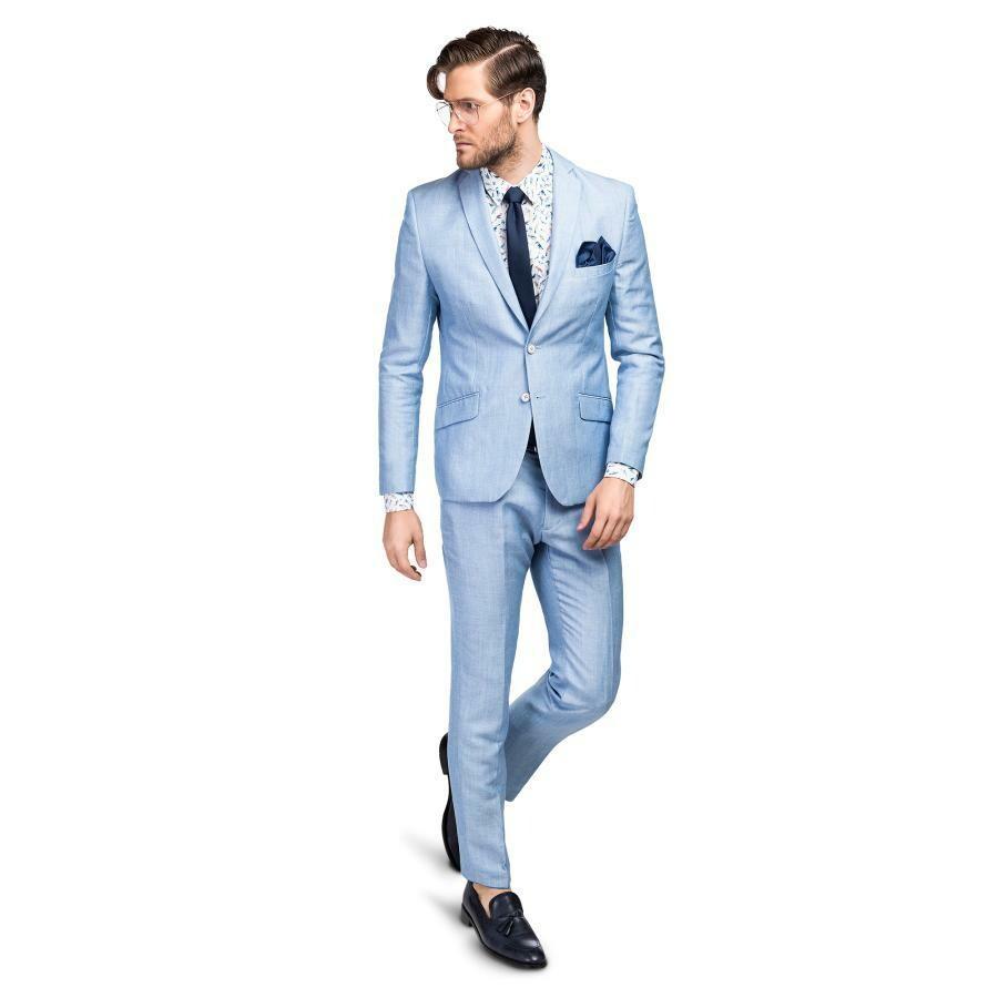 cadbf0d65e619 Lniany garnitur męski w kolorze niebieskim Giacomo Conti