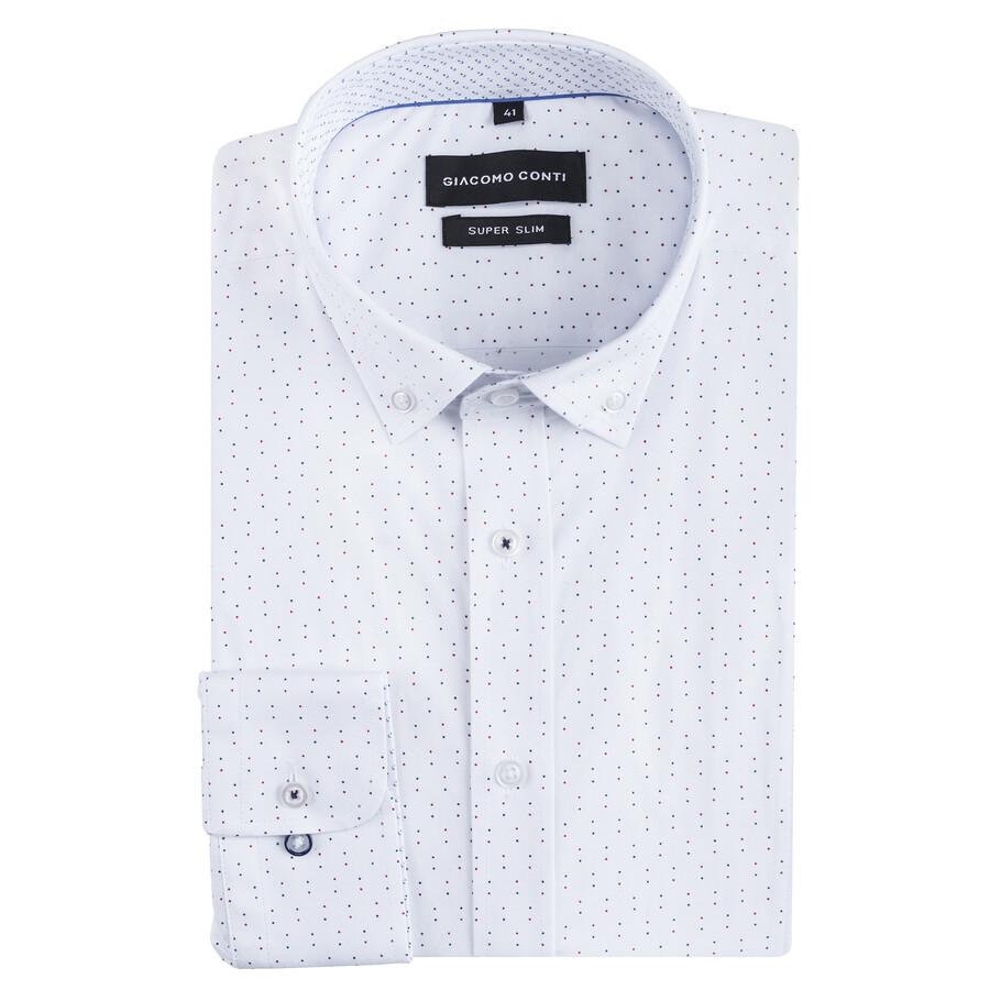 b13f59612fd78b Koszula męska biała w kropki MICHELE Giacomo Conti