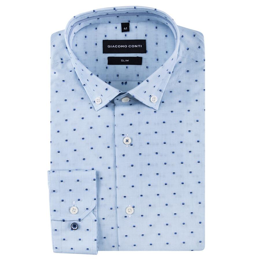 7009dd61ea93e3 Biała koszula męska w groszki fason slim