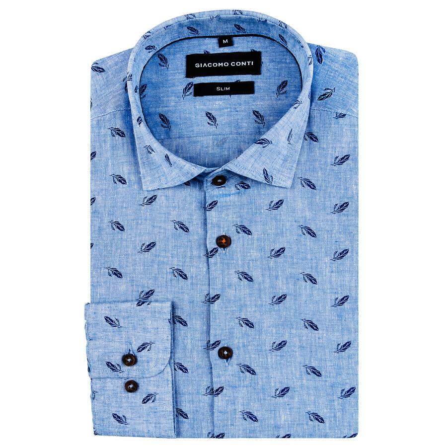 Męska koszula niebieska z wzorem piór Sandro Giacomo Conti  qmFaJ