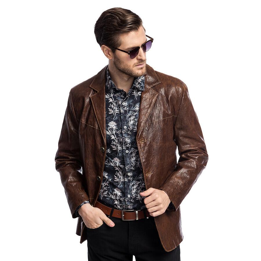 Brązowe kurtki męskie Giacomo Conti, kolekcja wiosna 2019