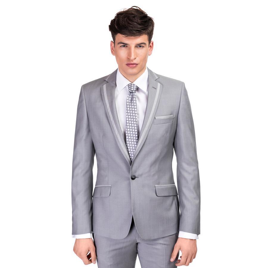 226f10dc14d21 Elegancki garnitur ślubny MARCUS 1 w szarym kolorze Giacomo Conti