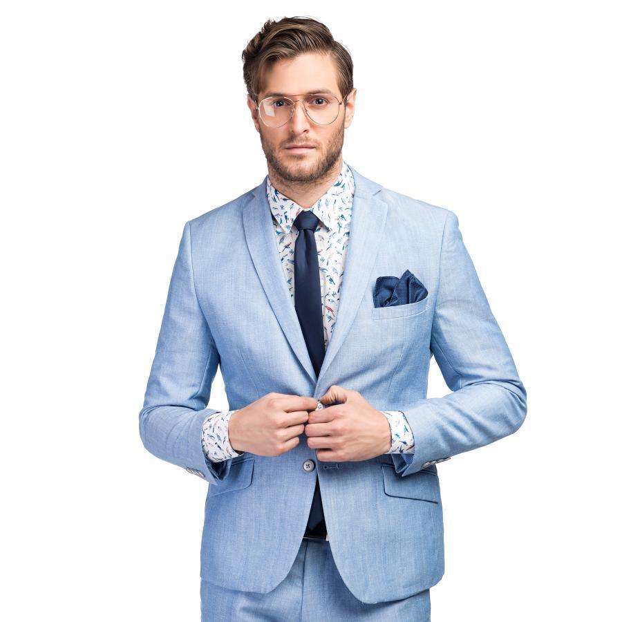 2d0ff43d62851 Lniany garnitur męski w kolorze niebieskim Giacomo Conti