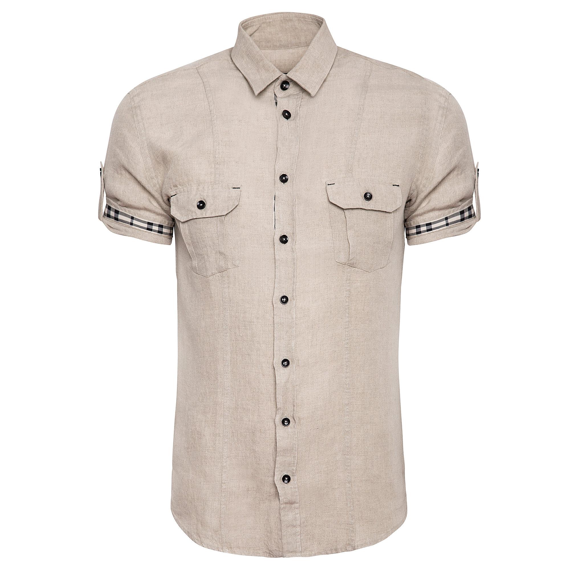 5fe1f3e7b Lniana beżowa koszula męska Giacomo Conti
