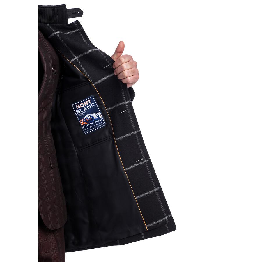 Płaszcz męski czarny krata PIERPAOLO PSCS000116 | Giacomo Conti
