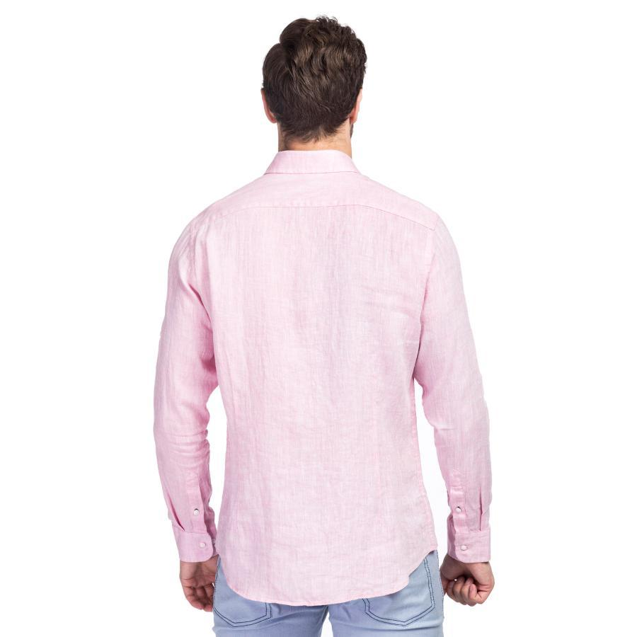 Lniana różowa koszula męska Giacomo Conti  HDzL6