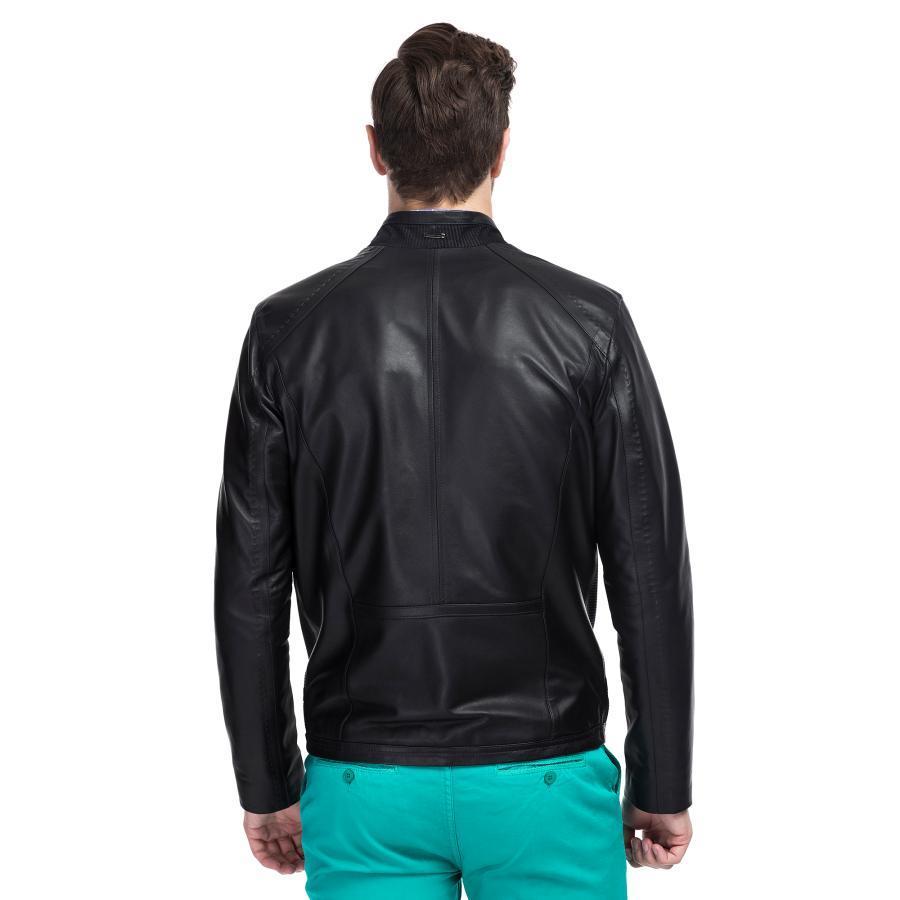 1d8240352615f Skórzana kurtka męska czarna - Giacomo Conti