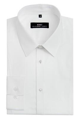 Biała koszula męska z metalowymi guzikami