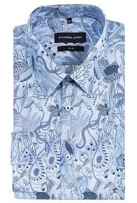 Męska koszula biała ze wzorem samochodów simone | Giacomo Conti  2pXPq